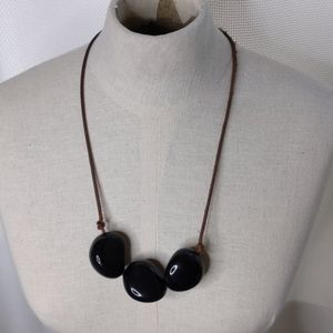 Artist made three-stone necklace on leather rope